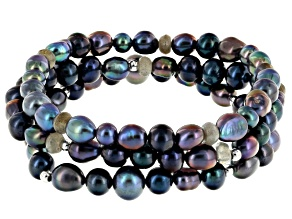 Cultured Freshwater Pearl & Labradorite Rhodium Over Sterling Silver Stretch Bracelet Set Of 3