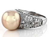Cultured Freshwater Pearl And White Topaz Rhodium Over Sterling Silver Ring 11-12mm
