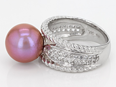 Cultured Freshwater Pearl And White Topaz Rhodium Over Sterling Silver Ring 11mm