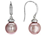 Genusis™ 11mm Pink Cultured Freshwater Pearl & White Cubic Zirconia Rhodium Over Silver Earrings