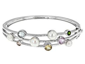 Cultured Freshwater Pearl And Multi Gem Sterling Silver Bracelet 6-8.5mm