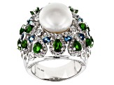 Cultured Freshwater Pearl And Multigem Sterling Silver Ring 11.5-12mm