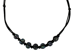 Cultured Freshwater Pearl Black Leather Cord Necklace 10.5-11mm