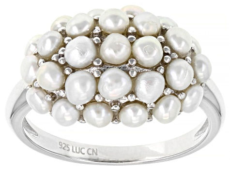 Cultured Freshwater Pearl Rhodium Over Sterling Silver Ring 2.5-3.5mm