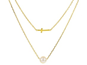 Cultured Freshwater Pearl 18k Yellow Gold Over Sterling Silver 2 Link Necklace 7-7.5mm