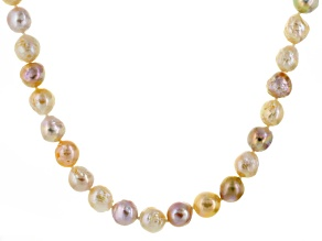 Cultured Freshwater Pearl Rhodium Over Silver Strand Necklace 12mm