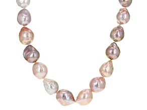 Multi-Color Cultured Freshwater Pearl Rhodium Over Silver Necklace 11-15mm