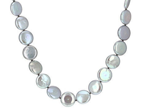 Silver Cultured Freshwater Pearl Rhodium Over Silver Strand Necklace 14mm