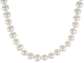 White Cultured Freshwater Pearl Rhodium Over Silver Strand Necklace 8-9mm