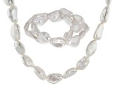 White Baroque Cultured Freshwater Pearl Rhodium Over Silver Jewelry Set 12-14mm