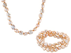 Peach Cultured Freshwater Pearl Necklace And Stretch Bracelet Jewerlry Set 8-9mmm
