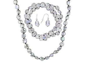 Silver Cultured Freshwater Pearl Rhodium Over Silver Jewelry Set 8-10mm