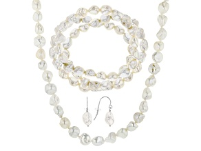 White Cultured Feshwater Pearl Rhodium Over Silver Jewelry Set 8-10mm