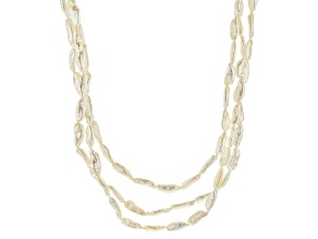 White Cultured Freshwater Pearl Rhodium Over Silver Necklace 7-8mm