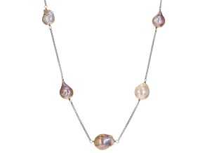 Multi-Color Cultured Freshwater Pearl Rhodium Over Silver Necklace 10-16mm