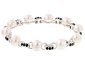 Cultured Freshwater Pearl With Blue Sapphire Rhodium Over Silver Bracelet