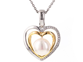 Cultured Freshwater Pearl With Diamond Rhodium Over Silver Heart Pendant