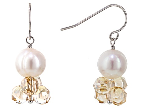 Cultured Freshwater Pearl With Crystal Rhodium Over Silver Earrings