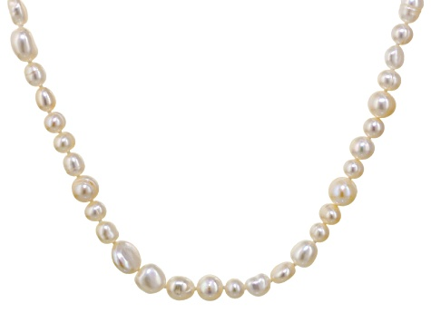 White Cultured Freshwater Pearl Rhodium Over Sterling Silver Necklace 36 inch