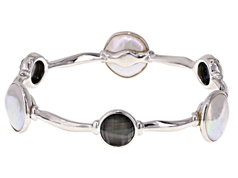 Cultured Freshwater Pearl With Black Mop Rhodium Over Silver Bangle