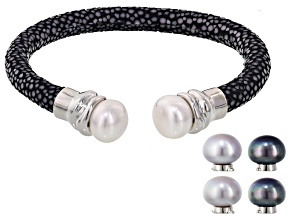 Multi-Color Cultured Freshwater Pearl Rhodium Over Silver interchangeable Bracelet
