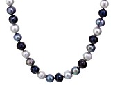 Cultured Freshwater Pearl Rhodium Over Sterling Silver Necklace 8-11mm