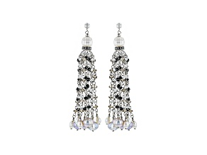 Cultured Freshwater Pearl With Multi Stones Rhodium Over Silver Earrings