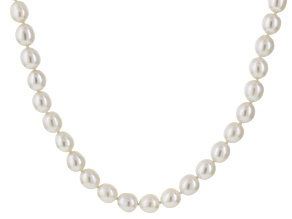Cultured Freshwater Pearl Rhodium Over Sterling Silver Necklace 18 inch