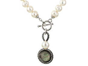 Cultured Freshwater Pearl With Mother Of Pearl Rhodium Over Silver Necklace