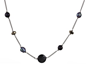 Cultured Freshwater Pearl With Pyrite And Black Onyx Rhodium Over Silver Necklace