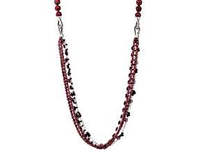 Cultured Freshwater Pearl With Amethyst, And Garnet Rhodium Over Silver Necklace 4-11mm