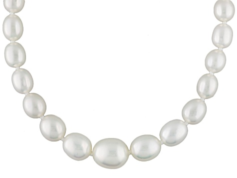 White Cultured Freshwater Pearl Rhodium Over Silver Necklace 5-9mm