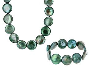 Forest Green Cultured Freshwater Pearl Jewerly Set 16-18mm