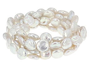 White Cultured Freshwater Pearl Stretch Bracelet Set Of Five 11-12mm