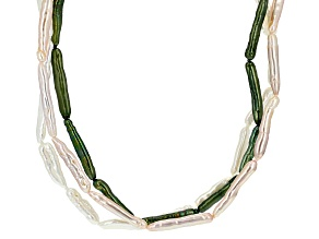 White, Pink, Green Cultured Freshwater Endless Strand Necklace Set Of Three 4-7mm