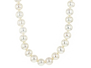 White Cultured Freshwater Pearl Rhodium Over Silver Strand Necklace 8-8.5mm