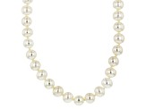 White Cultured Freshwater Pearl Rhodium Over Silver Strand Necklace 6mm