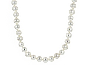 White Cultured Freshwater Pearl Rhodium Over Silver Strand Necklace 5mm