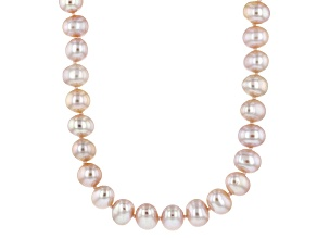 Pink Cultured Freshwater Pearl Rhodium Over Silver Strand Necklace 7-8mm