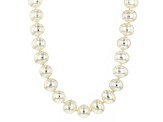 White Cultured Freshwater Pearl Rhodium Over Silver Strand Necklace 9mm