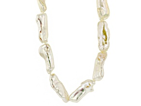 White Cultured Freshwater Pearl Rhodium Over Silver Strand Necklace 11mm