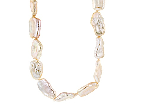 Peach Cultured Freshwater Pearl Rhodium Over Silver Strand Necklace 11mm