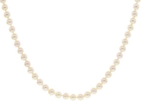 Cultured Freshwater Pearl Rhodium Over Silver Strand Necklace 6.5-7.5mm