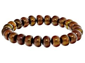 Brown Cultured Freshwater Pearl Stretch Bracelet 9.5-11.5mm