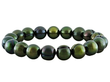 Picture of Green Cultured Freshwater Pearl Stretch Bracelet 10-11mm