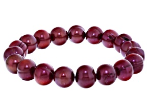 Cranberry Cultured Freshwater Pearl Stretch Bracelet 10-11mm