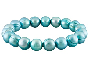 Teal Cultured Freshwater Pearl Stretch Bracelet 10-11mm