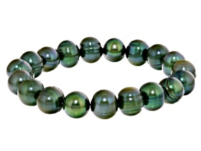 Green Cultured Freshwater Pearl Stretch Bracelet 10-11mm