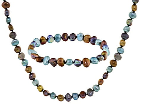 Mulit-Color Cultured Freshwater Pearl Necklace And Bracelet Set 7-8mm