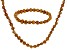 Copper Cultured Freshwater Pearl Necklace And Bracelet Set 7-8mm